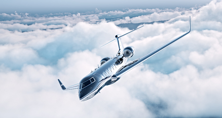 Photo pour Image of black luxury generic design private jet flying in blue sky. Huge white clouds at background. Business travel concept. Horizontal . - image libre de droit