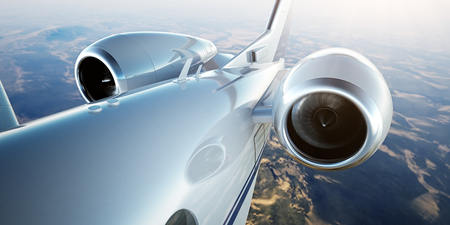 Photo pour Photo of White Luxury Generic Design Private Jet Flying in Blue Sky at sunset.Closeup Picture of two Reactive Turbine.Mans world.Full power.Business Travel Picture.Horizontal,Film Effect. 3D rendering - image libre de droit