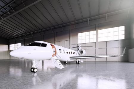 Photo pour Image of White Matte Luxury Generic Design Private Jet parking in hangar airport. Concrete floor. Business Travel Picture. Horizontal, front angle view. Film Effect. 3D rendering - image libre de droit