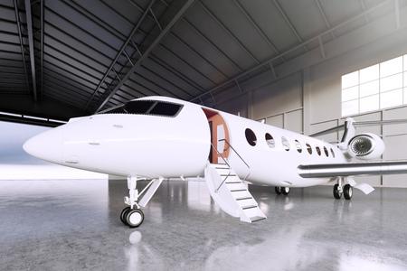Photo pour Picture of White Matte Luxury Generic Design Private Jet parking in hangar airport. Concrete floor. Business Travel Picture. Horizontal, front angle view. Film Effect. 3D rendering - image libre de droit