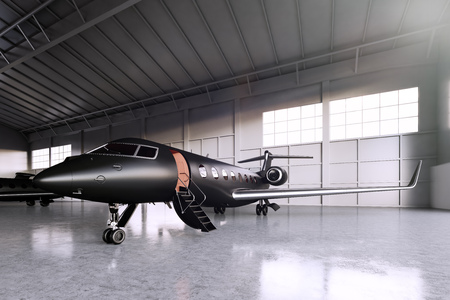Photo pour Photo of Black Matte Luxury Generic Design Private Jet parking in hangar airport. Concrete floor. Business Travel Picture. Horizontal, front angle view. Film Effect. 3D rendering - image libre de droit