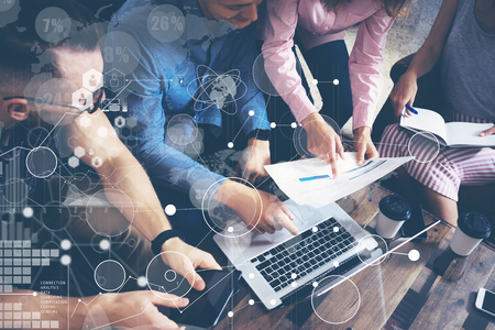 Photo pour Global Strategy Connection Data Virtual Icon Innovation Graph Interface.Startup Diversity Teamwork Brainstorming Meeting Concept.Business People Coworkers Sharing Worldwide Economy Laptop Touchscreen - image libre de droit