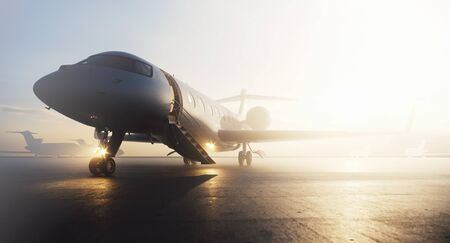 Photo pour Business private jet airplane parked at terminal. Luxury tourism and business travel transportation concept. 3d rendering - image libre de droit
