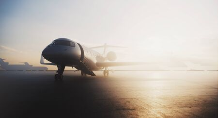 Foto per Business private jet airplane parked at terminal. Luxury tourism and business travel transportation concept. 3d rendering - Immagine Royalty Free