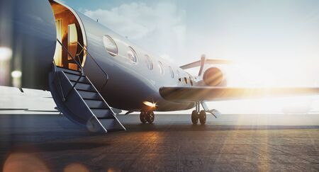 Photo pour Business jet airplane parked at outside and waiting vip persons. Luxury tourism and business travel transportation concept. Flares. 3d rendering. - image libre de droit