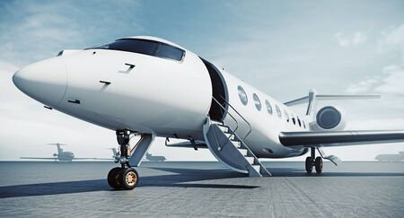 Photo pour Business private jet airplane parked at airfield and ready for flight. Luxury tourism and business travel transportation concept. 3d rendering. - image libre de droit