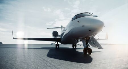 Photo for Business private jet airplane parked at airfield and ready for flight. Luxury tourism and business travel transportation concept. 3d rendering. - Royalty Free Image
