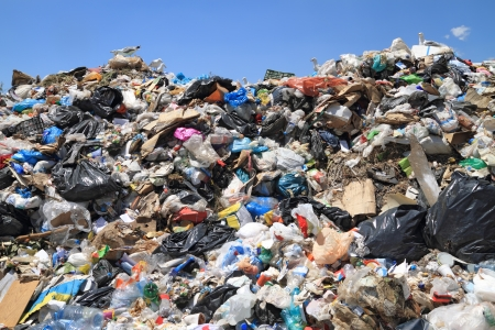 Pile of domestic garbage in landfill. Copyrighted material thoroughly removed