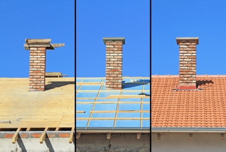 Three phases of a roof construction  Carpentry work, thermal insulation and tiling