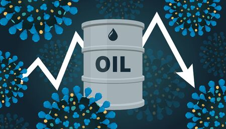 Illustration pour Oil price falls and world economic suffers from recession because of COVID-19. Coronavirus slows down growth. - image libre de droit