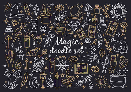 Illustration for A magical set of doodle style icons. Vector linear witchcraft and mystical symbols. Esoteric items. - Royalty Free Image