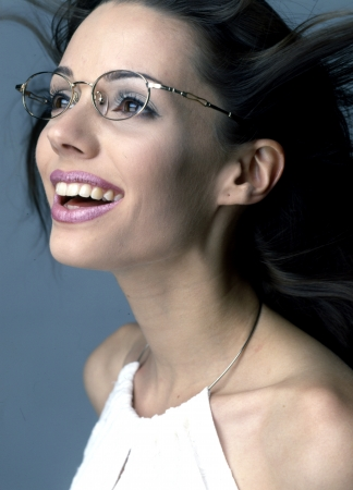 Beautiful girl with glasses white-collar workers