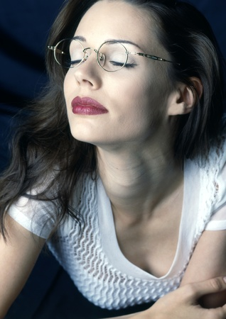 model with glasses
