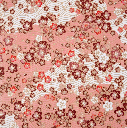 japanese style red  sakura  and wave paper texture