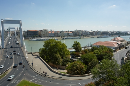 Budapest, Hungary - 09 August, 2012 - Nice view from Gellert Hill on the Elisabeth bridge.