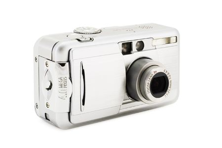 compact digital photo camera on a white background with clipping path for designers