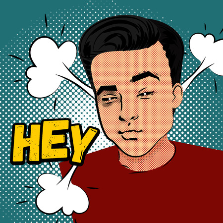 Youth contemporary modern style illustration pin-up. Attractive daring young man makes selfie duck face on green background, round pattern. Lettering hey.