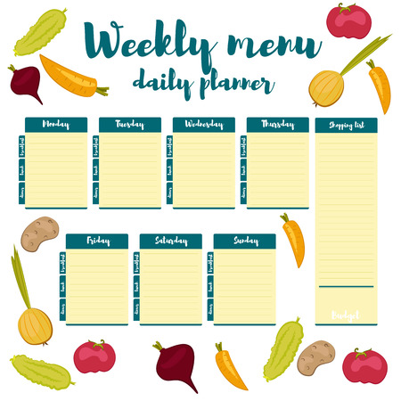 Blue color fresh paper note week healthy eating hand drawn. Breakfast, lunch, dinner. Weekly menu calendar. Template shopping list product and vegetables.