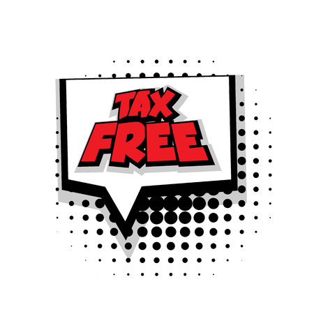 Lettering tax free  Comic text sound effects pop art style