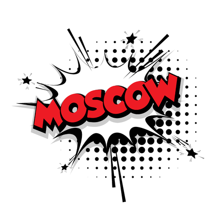 Lettering Moscow Comic text sound effects pop art vector