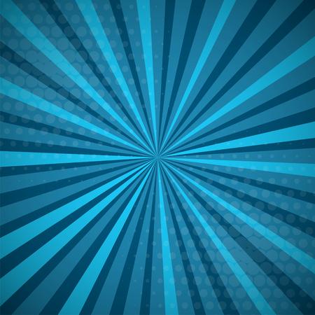Illustration pour Aquamarine turquoise colored Pop-Art style blue comics book background, Lichtenstein popart. Pop art comic strip backdrop sunlight, sun ray space. Funny halftone dotted template. Vector illustration. - image libre de droit