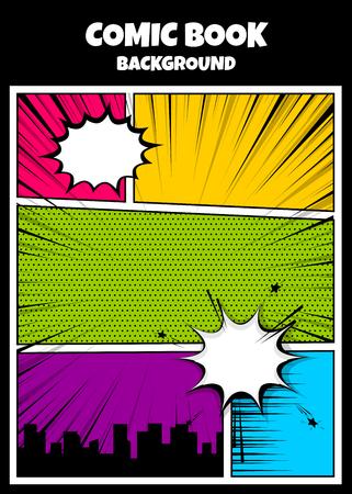 Illustration pour Color comics book cover vertical backdrop - image libre de droit