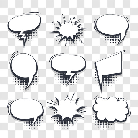 Illustration for Big set hand drawn blank effects template comic speech bubbles halftone dot vector transparent background in pop art style. Dialog empty cloud, space for text. Creative comics book conversation chat - Royalty Free Image