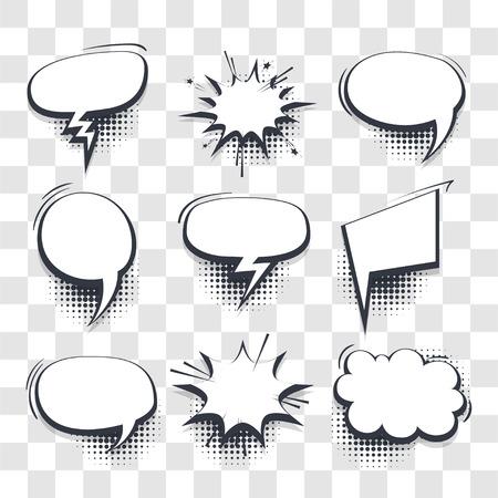 Illustration pour Big set hand drawn blank effects template comic speech bubbles halftone dot vector transparent background in pop art style. Dialog empty cloud, space for text. Creative comics book conversation chat - image libre de droit