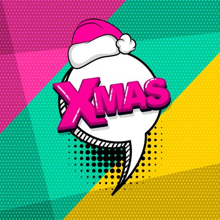 Photo pour Christmas xmas red hat comic text sound effects pop art style. Vector speech bubble word and short phrase cartoon expression illustration. Comics book background template. - image libre de droit