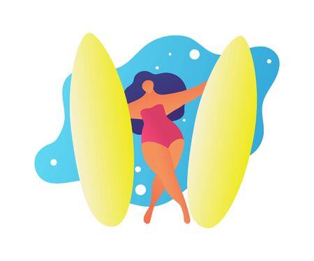 Flat friendly woman surfing on big waves. Cartoon trendy people friends summer beach lifestyle. Hawaii surf vacations. Woman get surfing in cartoon trendy people style.