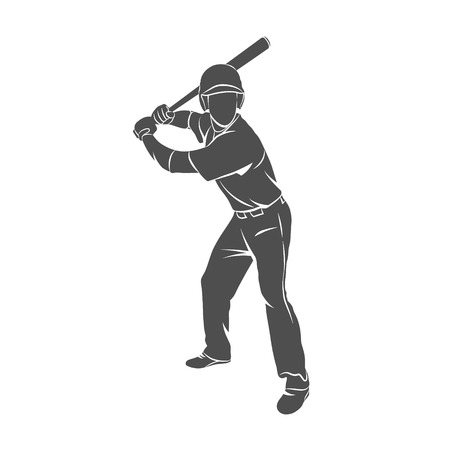 Silhouette baseball player hit the ball on a white background. Vector illustration.