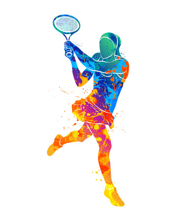 Illustration for tennis player, silhouette - Royalty Free Image