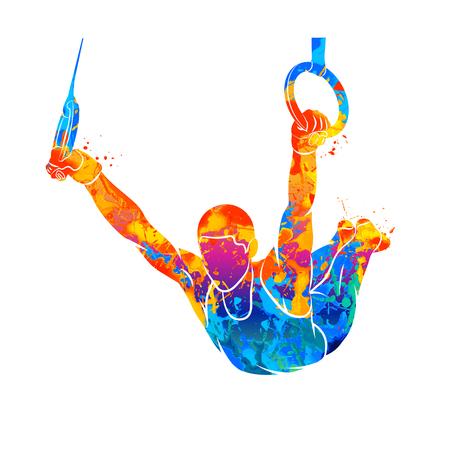 Illustration pour Abstract gymnast on rings - image libre de droit