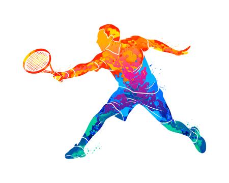 Ilustración de Abstract tennis player with a racket from splash of watercolors. Vector illustration of paints - Imagen libre de derechos