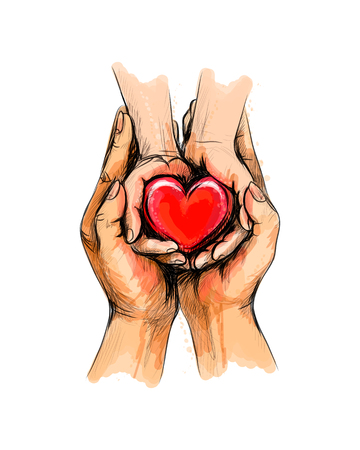 Illustration pour Adult and child hands holding red heart, health care, donate, world heart day, world health day, Happy Mother s day, valentine s day love - image libre de droit