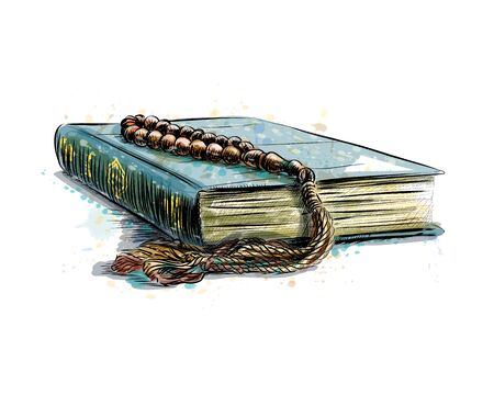 Illustration pour Holy book of Koran with rosary, hand drawn sketch - image libre de droit