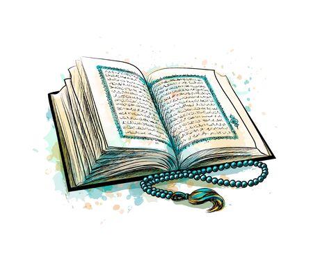 Illustration pour Holy book of Koran with rosary from splash of watercolors. Muslim holiday, Eid Mubarak, Eid al-fitr, Ramadan Kareem. Hand drawn sketch. Vector illustration of paints - image libre de droit