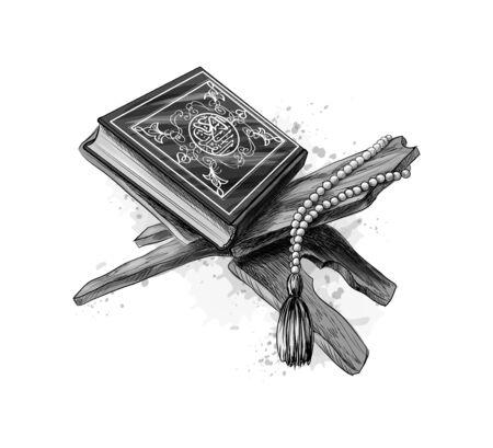 Illustration pour Holy book of Koran with rosary. Muslim holiday, Eid Mubarak, Eid al-fitr, Ramadan Kareem. Hand drawn sketch. Vector illustration of paints - image libre de droit