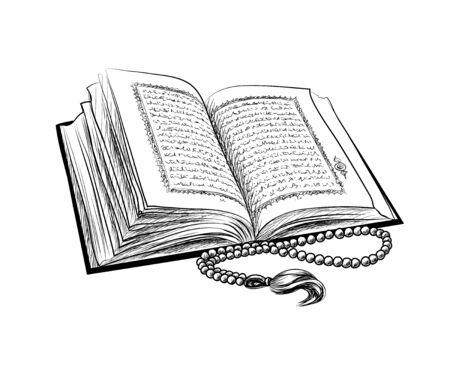 Illustration pour Holy book of Koran with rosary. Muslim holiday, Eid Mubarak, Eid al-fitr, Ramadan Kareem. Hand drawn sketch - image libre de droit