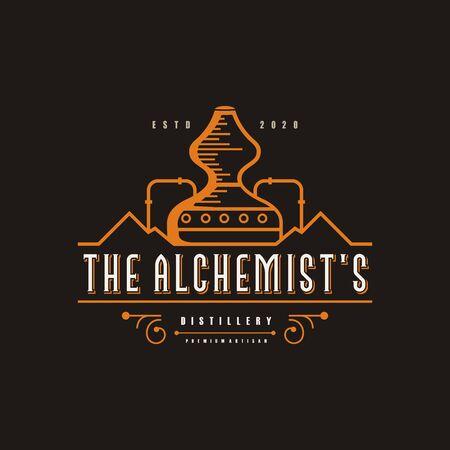 Ilustración de Distillery logo illustration, vintage, brand Premium Vector - Imagen libre de derechos