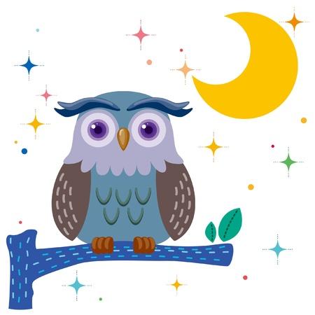 Old owl against a star night sky