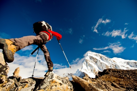Hiking in Himalaya mountainsの写真素材
