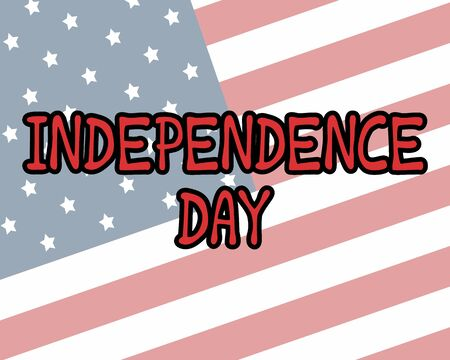 Illustration pour July 4th greeting card with brush stroke background in United States national flag colors and hand lettering text Happy Independence Day. Vector illustration. - image libre de droit