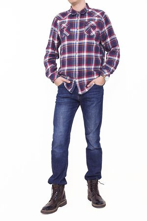 Photo pour Handsome and confident young man wearing shirt while standing on white background. - image libre de droit