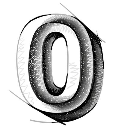 sketch numerals, hand drawn number zero