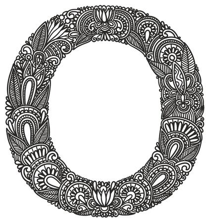 Hand drawing ornamental alphabet