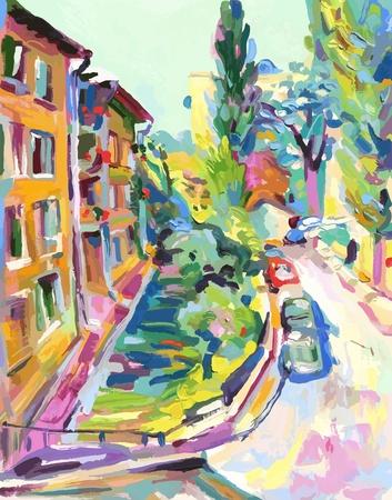 oil painting vector illustration.