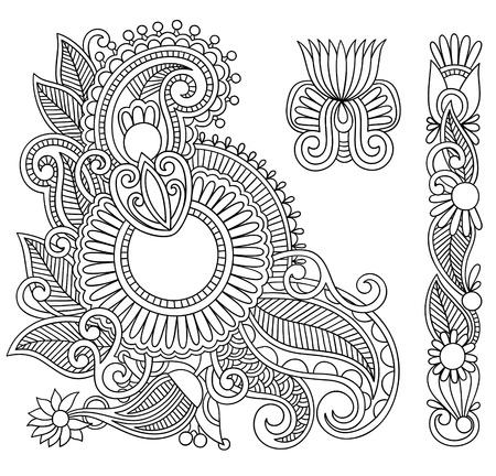 Hand drawn abstract henna mehndi black flowers doodle Illustration design element