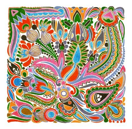 hand draw marker flower vector ethnic design. Ukrainian traditional painting