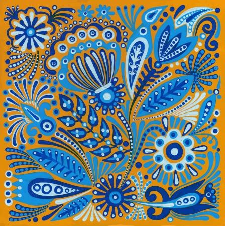 hand draw acrylic painting flower vector ethnic design. Ukrainian traditional painting